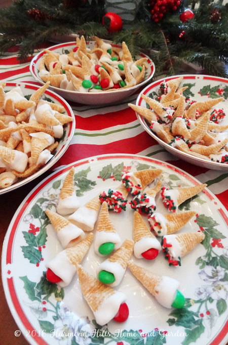 Bugles Elf Hat Treats - sweet and salty and cute as can be!