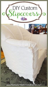 DIY Custom Slipcovers made from bedspreads - www.HarmonyHillsHomeandGarden.com