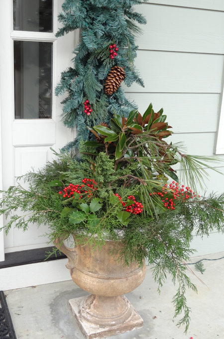 Use clippings from the yard to create Christmas decorations