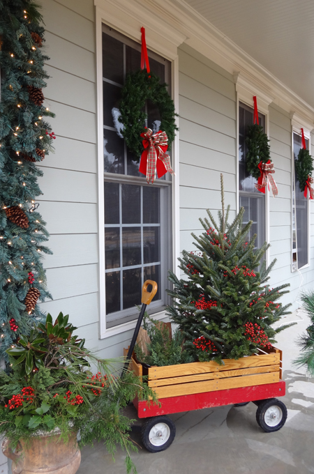Using clippings from the yard to decorate for Christmas