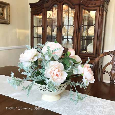 Faux Peonies and Dusty Miller - from Michaels Craft Store