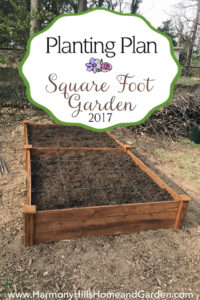 Our 2017 Square Foot Garden Planting Plan - 4'x8' raised bed garden full of vegetables - www.HarmonyHillsHomeandGarden.com